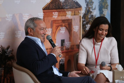 Samih Sawiris, the Chairman of Orascom Development Housing being interviewed during the EU-Africa Business Summit 2019.