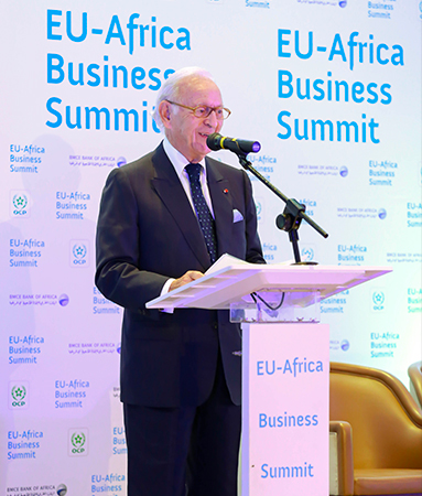 Othman Benjelloun, Chairman and CEO of the BMCE Bank of Africa Group is offering opening remarks at the EU-Africa Business Summit 2018